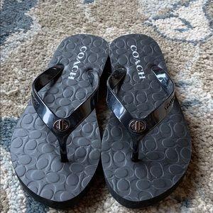 Coach Abigail flip flops black size 5 never worn